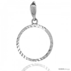 Sterling Silver Penny Bezel 19 mm Coins Prong Back Diamond Cut 1 Cent Coin NOT Included