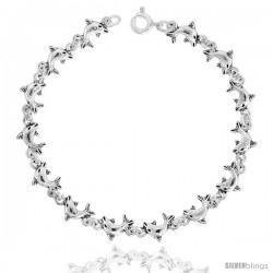 Sterling Silver Dolphin Charm Bracelet, 1/4 in wide 7.5 inch long