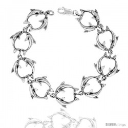 "Sterling Silver Double Dolphin Charm Bracelet, 5/8"" (15 mm)."