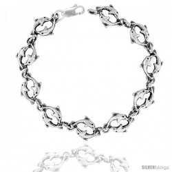 """Sterling Silver Double Dolphin Charm Bracelet, 3/8"""" (10 mm)."""