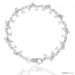 Sterling Silver Puffy Dolphin Bracelet for Women & Girls 7.5 inch long