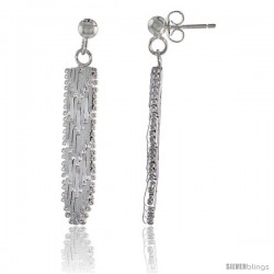 Sterling Silver Italian Riccio Earrings, 1 5/16 in long