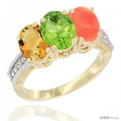14K Yellow Gold Natural Citrine, Peridot & Coral Ring 3-Stone 7x5 mm Oval Diamond Accent