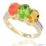 14K White Gold Natural Citrine, Peridot & Coral Ring 3-Stone 7x5 mm Oval Diamond Accent