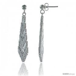 Sterling Silver Italian Riccio Earrings, 1 1/2 in long