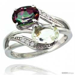 14k White Gold ( 8x6 mm ) Double Stone Engagement Green Amethyst & Mystic Topaz Ring w/ 0.07 Carat Brilliant Cut Diamonds
