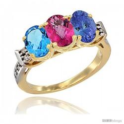 10K Yellow Gold Natural Swiss Blue Topaz, Pink Topaz & Tanzanite Ring 3-Stone Oval 7x5 mm Diamond Accent
