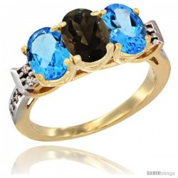 10K Yellow Gold Natural Smoky Topaz & Swiss Blue Topaz Sides Ring 3-Stone Oval 7x5 mm Diamond Accent