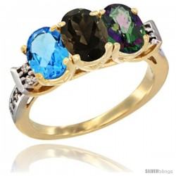 10K Yellow Gold Natural Swiss Blue Topaz, Smoky Topaz & Mystic Topaz Ring 3-Stone Oval 7x5 mm Diamond Accent