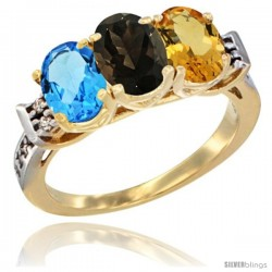 10K Yellow Gold Natural Swiss Blue Topaz, Smoky Topaz & Citrine Ring 3-Stone Oval 7x5 mm Diamond Accent