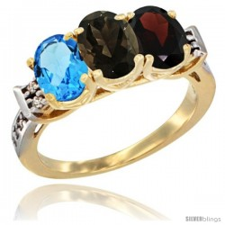 10K Yellow Gold Natural Swiss Blue Topaz, Smoky Topaz & Garnet Ring 3-Stone Oval 7x5 mm Diamond Accent