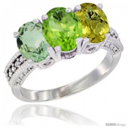 14K White Gold Natural Green Amethyst, Peridot & Lemon Quartz Ring 3-Stone 7x5 mm Oval Diamond Accent
