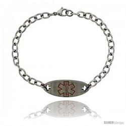 Surgical Steel Medical Alert Bracelet for Type 2 Diabetic 9/16 in wide, 8 1/2 in long