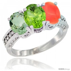 14K White Gold Natural Green Amethyst, Peridot & Coral Ring 3-Stone 7x5 mm Oval Diamond Accent