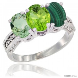 14K White Gold Natural Green Amethyst, Peridot & Malachite Ring 3-Stone 7x5 mm Oval Diamond Accent