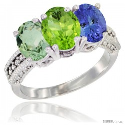 14K White Gold Natural Green Amethyst, Peridot & Tanzanite Ring 3-Stone 7x5 mm Oval Diamond Accent