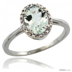 14k White Gold Diamond Halo Green Amethyst Ring 1.2 ct Oval Stone 8x6 mm, 1/2 in wide
