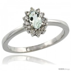 14k White Gold Diamond Halo Green Amethyst Ring 0.25 ct Oval Stone 5x3 mm, 5/16 in wide