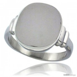 Surgical Steel Medium Signet Ring Solid Back Flawless Finish 3/8 in