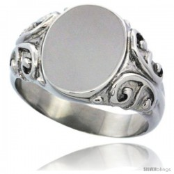 Surgical Steel Medium Signet Ring Solid Back Flawless Finish with C Scrolls 1/2 in