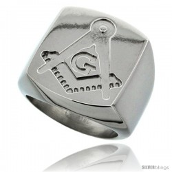 Surgical Steel Masonic Symbol Ring Square and Compass 3/4 in -Style Rss403