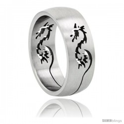 Surgical Steel Dragon Ring Domed 8mm Wedding Band Cut-out design