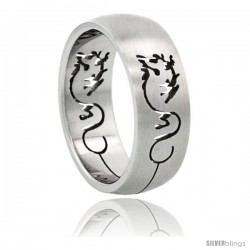 Surgical Steel Dragon Ring Domed 8mm Wedding Band Cut-out design -Style Rss44