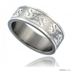 Surgical Steel Dragon Ring 8mm Wedding Band Matte finish