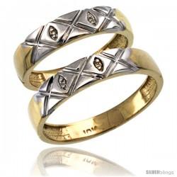 14k Gold 2-Pc His (5mm) & Hers (4.5mm) Diamond Wedding Ring Band Set w/ 0.026 Carat Brilliant Cut Diamonds