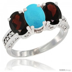 14K White Gold Natural Turquoise & Garnet Sides Ring 3-Stone 7x5 mm Oval Diamond Accent