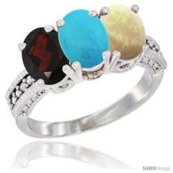 14K White Gold Natural Garnet, Turquoise & Opal Ring 3-Stone 7x5 mm Oval Diamond Accent