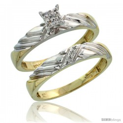 10k Yellow Gold Diamond Engagement Rings Set 2-Piece 0.08 cttw Brilliant Cut, 1/8 in wide