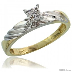 10k Yellow Gold Diamond Engagement Ring 0.06 cttw Brilliant Cut, 1/8in. 3.5mm wide -Style 10y018er