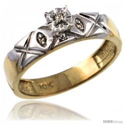 14k Gold Diamond Engagement Ring w/ 0.03 Carat Brilliant Cut Diamonds, 5/32 in. (4.5mm) wide -Style 14y154er