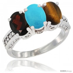 14K White Gold Natural Garnet, Turquoise & Tiger Eye Ring 3-Stone 7x5 mm Oval Diamond Accent