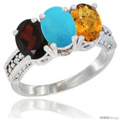 14K White Gold Natural Garnet, Turquoise & Whisky Quartz Ring 3-Stone 7x5 mm Oval Diamond Accent