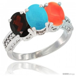 14K White Gold Natural Garnet, Turquoise & Coral Ring 3-Stone 7x5 mm Oval Diamond Accent