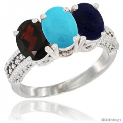 14K White Gold Natural Garnet, Turquoise & Lapis Ring 3-Stone 7x5 mm Oval Diamond Accent