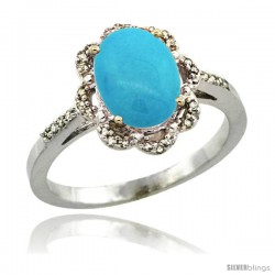 Sterling Silver Diamond Halo Turquoise Ring 1.65 Carat Oval Shape 9X7 mm, 7/16 in (11mm) wide