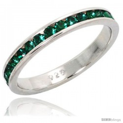 "Sterling Silver Eternity Band, w/ May Birthstone, Emerald Crystals, 1/8"" (3 mm) wide"