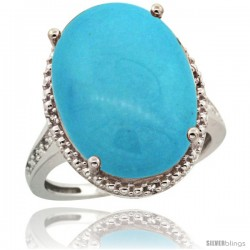 Sterling Silver Diamond Sleeping Beauty Turquoise Ring 13.56 Carat Oval Shape 18x13 mm, 3/4 in (20mm) wide