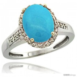 Sterling Silver Diamond Sleeping Beauty Turquoise Ring 2.4 ct Oval Stone 10x8 mm, 1/2 in wide
