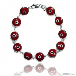 Sterling Silver Red Color Evil Eye Bracelet, 7 in long