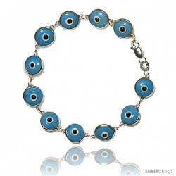 Sterling Silver Turquoise Color Evil Eye Bracelet, 7 in long