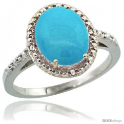 Sterling Silver Diamond Sleeping Beauty Turquoise Ring 2.4 ct Oval Stone 10x8 mm, 1/2 in wide -Style Cwg18111