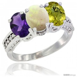 14K White Gold Natural Amethyst, Opal & Lemon Quartz Ring 3-Stone 7x5 mm Oval Diamond Accent