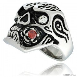 Surgical Steel Biker Skull Ring w/ White CZ Eye & Biting Red CZ Rose