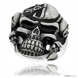 Surgical Steel Biker Ring Large Skull Decorated w/ 5 Skulls