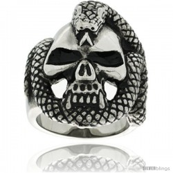 Surgical Steel Biker Ring Vampire Skull Rapped with Snake