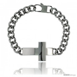 Surgical Steel Sideways Cross Bracelet 1 in wide, 8.5 in long